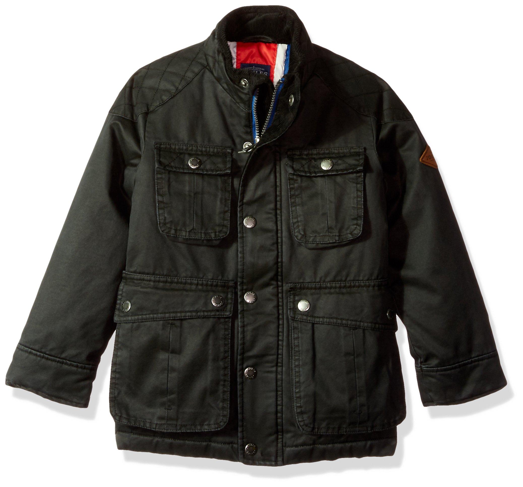 Joules Little Boys' Barnham Faux Wax Jacket, Black, 5