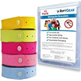 RiptGear Mosquito Bracelet for Adults (15 Pack) - Mosquito Bands for Kids and Travel - DEET Free Insect and Bug Bracelets Mad