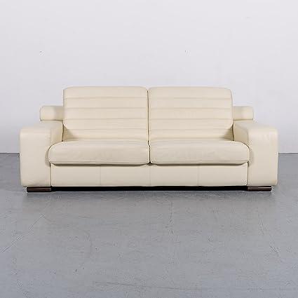 Amazon Com Laauser Designer Leder Sofa Creme Dreisitzer Echtleder