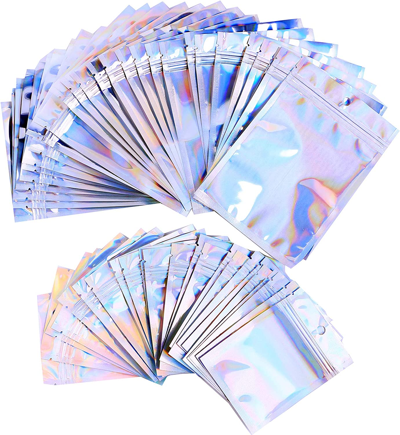50 Pieces Resealable Smell Proof Bags Foil Pouch Bag, Used to store and pack party food, jewelry, lip gloss, eyelashes, party supplies, candy (Medium,Holographic Color, 4 x 6 Inch and 6 x 9 Inch)