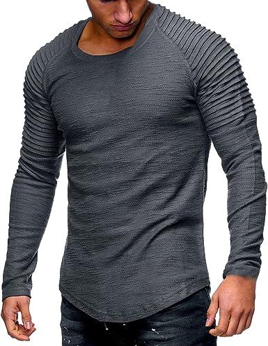 Camiseta De Manga Larga con Cuello Redondo para Hombre Camisetas Delgadas Top Casual con Volantes Camisas De Color Sólido Blanco/Caqui/Gris/Negro/Verde del Ejército: Amazon.es: Ropa y accesorios