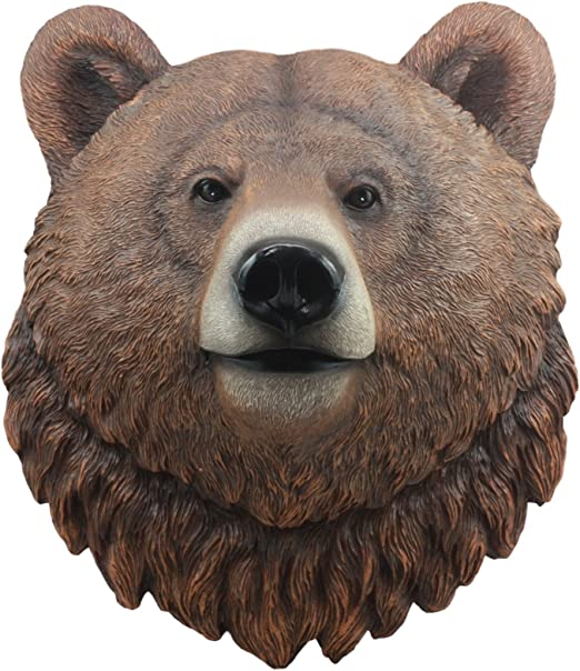 3D Resin Black Bear Head Wall Mount Hanging Wall Sculpture Home Decor Accent