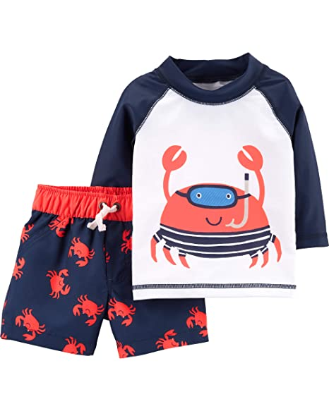 Carters Baby Boys Rashguard Swim Set, Crab, 9 Months