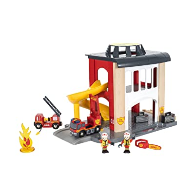 BRIO World - 33833 Central Fire Station | 12 Piece Toy for Kids with Fire Truck and Accessories for Kids Ages 3 and Up: Toys & Games