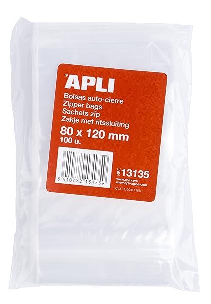APLI 13135 - Pack de 100 bolsas de plástico con autocierre, 80 x 120 mm