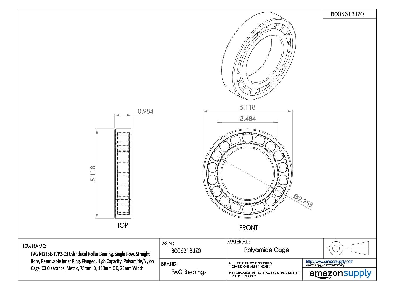 FAG NJ215E-TVP2 Cylindrical Roller Bearing Metric Single Row 25mm Width Schaeffler Technologies Co 130mm OD Straight Bore Flanged NJ215-E-TVP2 Normal Clearance High Capacity 75mm ID Removable Inner Ring
