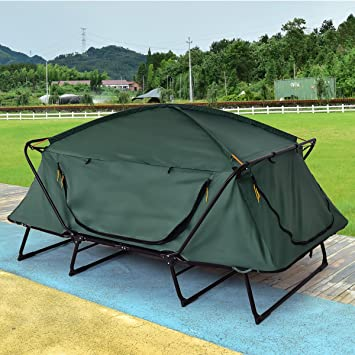 Tangkula Tent Cot Folding Waterproof 2 Person Hiking Elevated C&ing Tent with Carry Bag : tent with cot - memphite.com