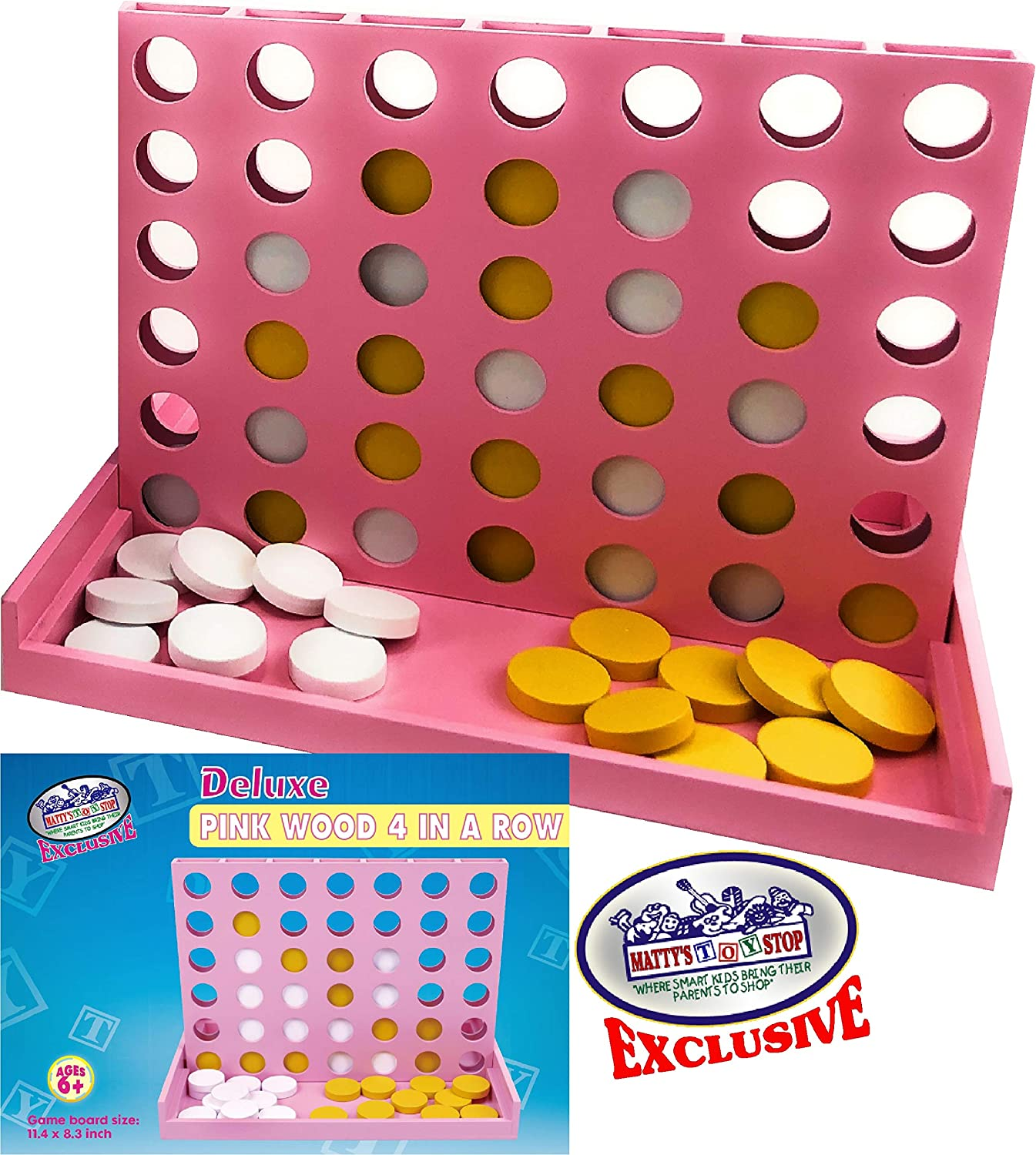 """Matty's Toy Stop Deluxe Pink Wooden 4 in a Row Game (12"""" x 8.5""""), Perfect for Home or Travel"""