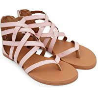 BK Dream Women's Gladiator Stylish Fashion Flat Sandals Light Pink