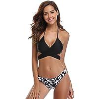 SHEKINI Womens Floral Printing Swim Bottoms Padded Wrap Halter Bandage Bikini Two Piece Swimsuits