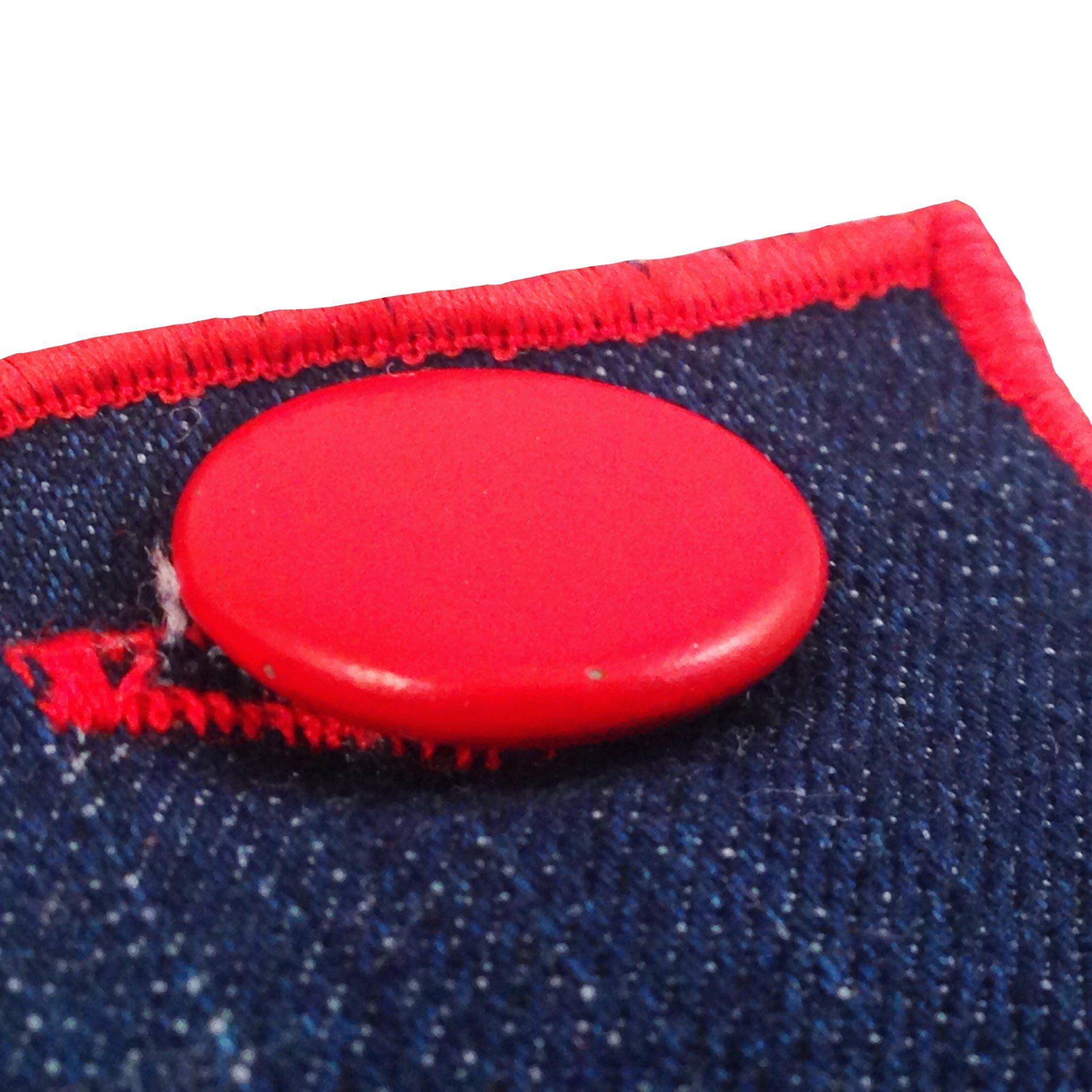 Dark Denim with Red Metal Button Men's Pocket Square by The Detailed Male by The Detailed Male (Image #3)