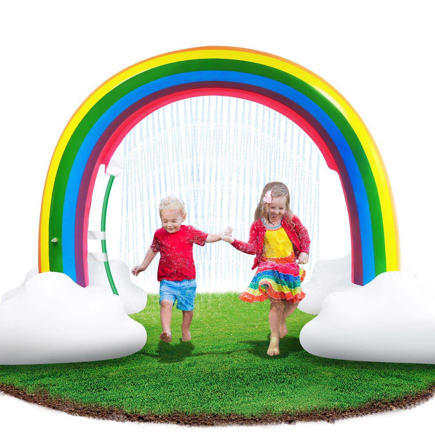 Neteast Inflatable Rainbow Arch Sprinkler Toys for Kids Outdoor, 96'' Outside Sprinkler Splash Water Toys for 1 2 3 4 5 6 7 8 Year Old Boys and Girls by Neteast