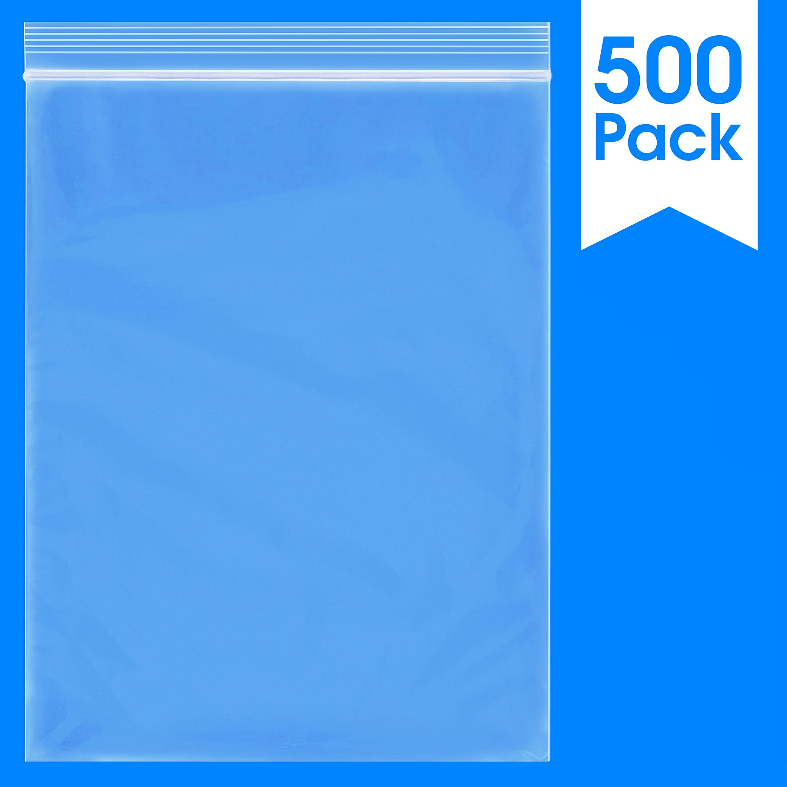 """500 Count - 10"""" X 13"""", 2 Mil Reclosable Zip Plastic Bag, Clear (More Sizes Available)"""