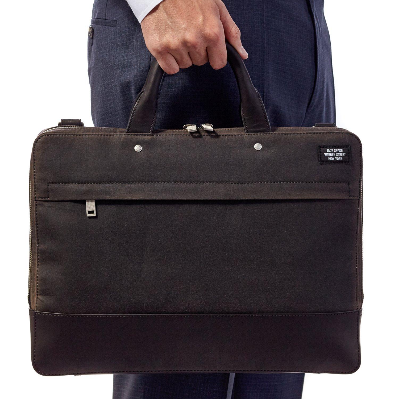 Jack Spade Waxwear Slim Briefcase Bag, Fits 15'' Laptop - Chocolate