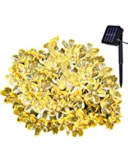 Yasolote 7m 50 LED Guirlande Solaire Fleur Guirlande Lumineuse Extérieure avec 8 Modes d'éclairage Ornement de Jardin, Terrasse, Balcon (Blanche Chaude)