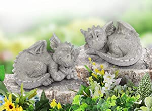 Giftchy Dragon Garden Statues Set of 2, Whimsical Gargoyle Decorations for Outside, Resin Animals Outdoor Statues, Spring Decor for Home, 8.5