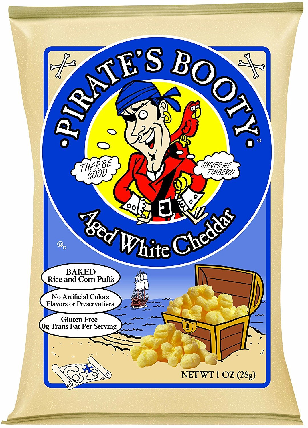 Pirate's Booty Aged White Cheddar, 1 Ounce 48 Count