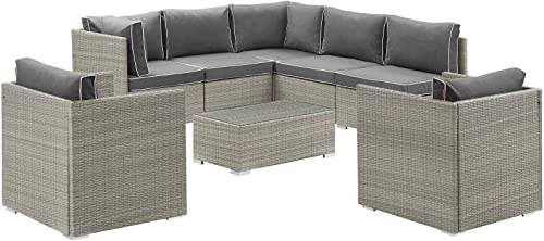 Modway EEI-3008-LGR-CHA-SET Repose Outdoor Patio Sectional Set, 8 Piece, Light Gray Charcoal