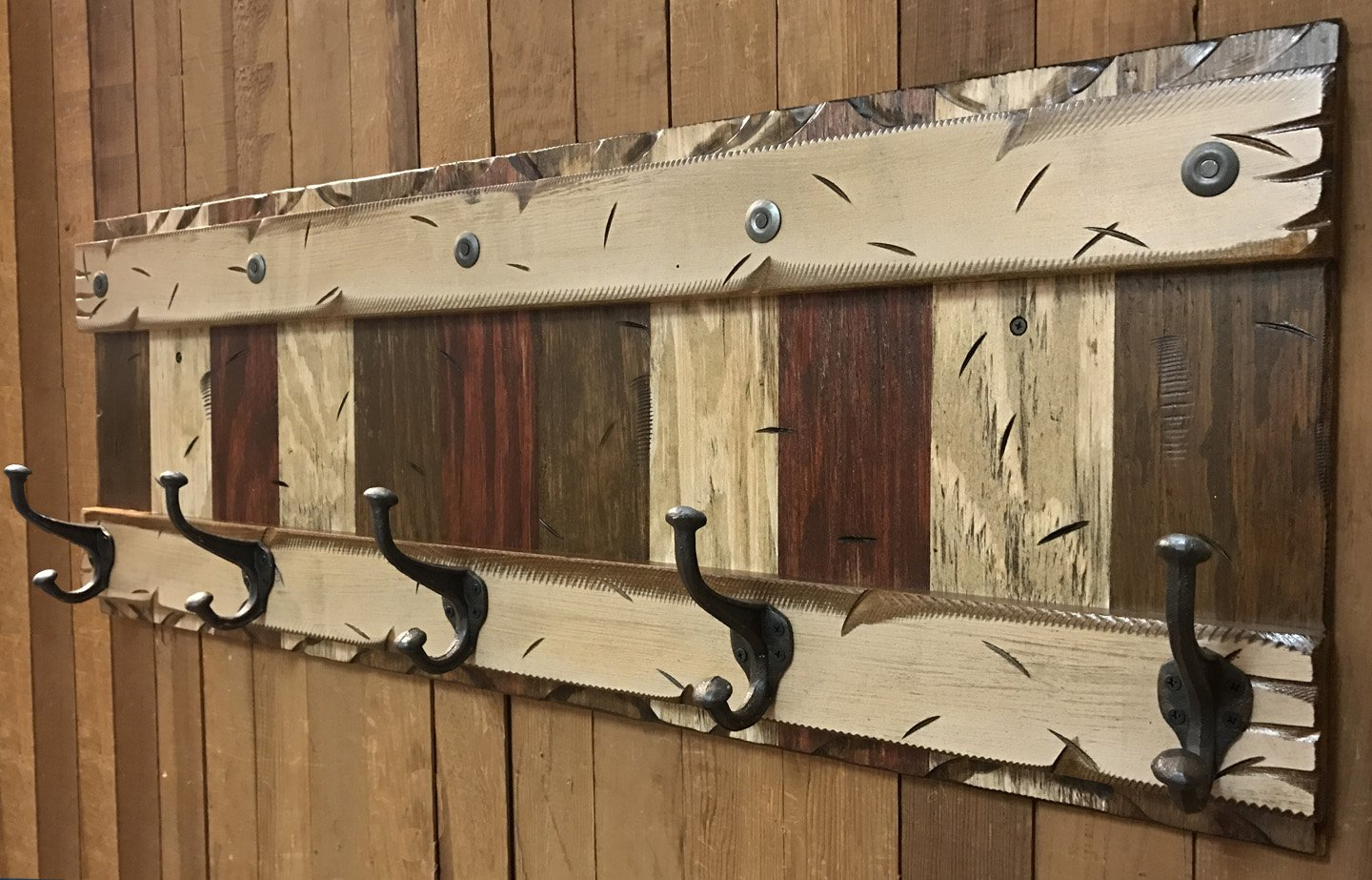 COATRACK with 5 metal hooks 44'' RUSTIC Coat Rack Red BURG BROWN COMBO Cabin Wall Home Hallway Entryway Decor Burgundy Antique White Cream