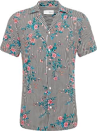 Solid - Brando Tropic - BLU Camisa de Manga Corta para Hombre: Amazon.es: Ropa y accesorios