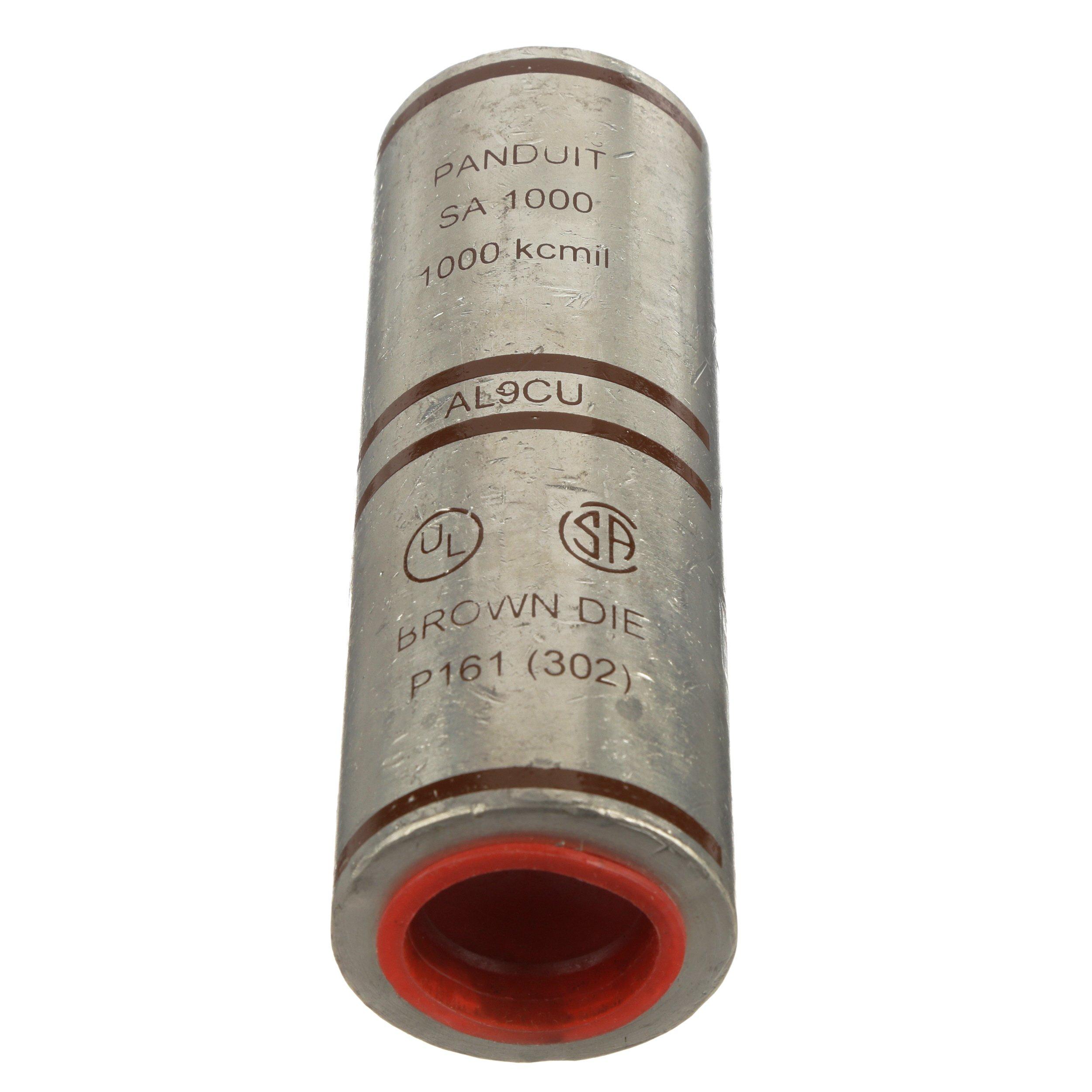 Panduit SA1000-1 Barrel Code Conductor Splice, Aluminum, 1000 kcmil Aluminum/Copper Conductor Size, Brown Color CBarrel ODe, 2-9/16'' Wire Strip Length, 1.84'' Barrel OD, 5.25'' Barrel Length