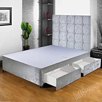 60c7e4e89b95 Hf4you Crushed Velvet Fabric Divan Bed Base - 4FT Small Double - Silver -  No Drawers