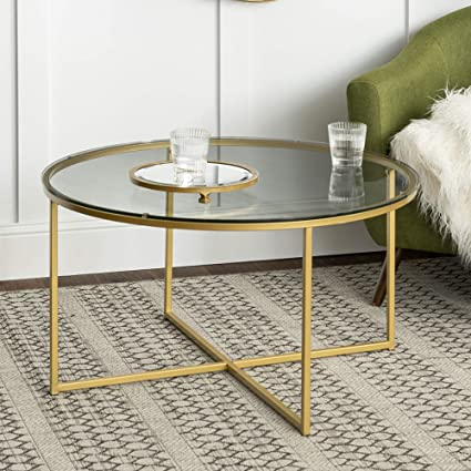 Walker Edison Cora Modern Round Faux Glass Top Coffee Table with X Base