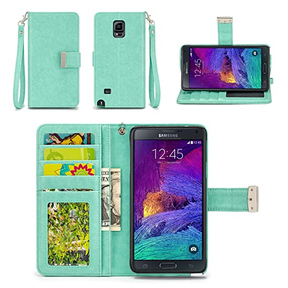 new products f0322 fb10e IZENGATE Samsung Galaxy Note 4 Wallet Case - Executive Premium PU Leather  Flip Cover Folio with Stand (Mint)
