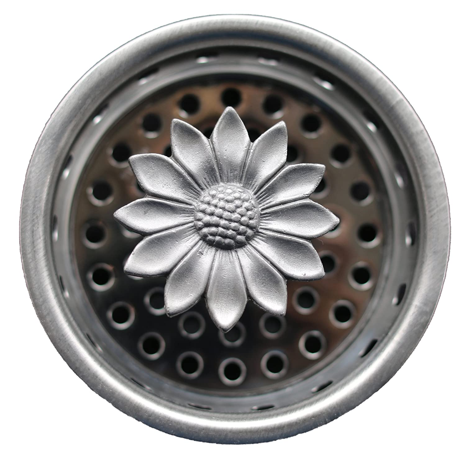 "Kitchen Sink Strainer & Stopper ~ Decorative Pewter Top - Sunflower ~ Stainless Steel Basket, Strains and Plugs any Standard Sink Drain (3.25"")"