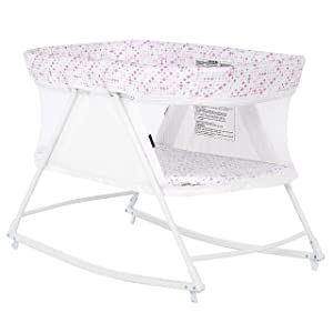 Dream on Me Palm 3 in 1 Bassinet Playpen | Cradle | Portable Pack n Play | New Born to Toddler, White