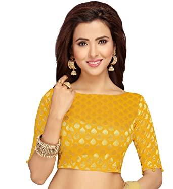 f6ea70c3313986 Studio Shringaar Women's Banaras Brocade Saree Blouse with Elbow Length  Sleeves (Yellow, ...