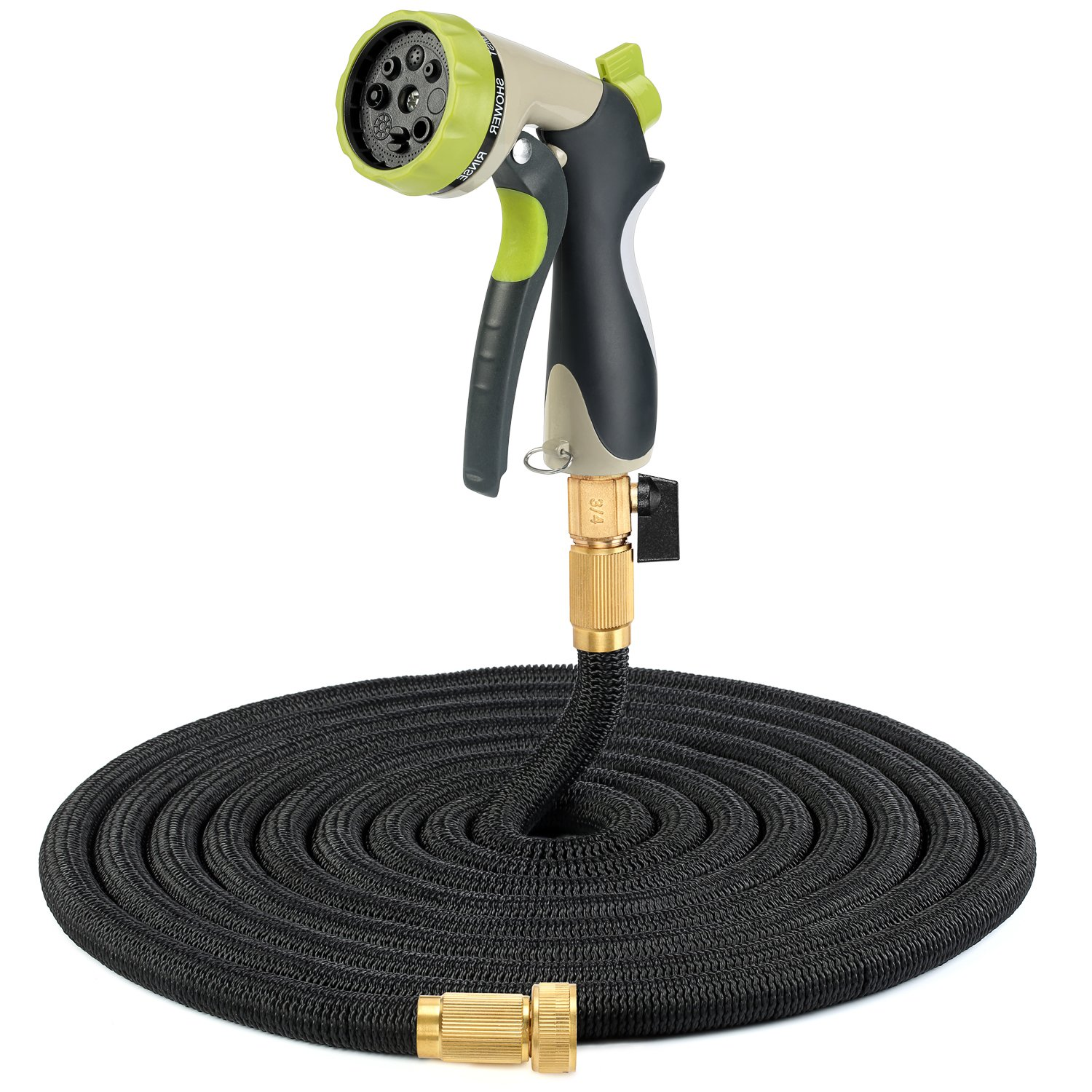 Garden Hose, Fivanus 50ft Portable Flexible Expandable Water Hose with 8 Pattern Spray Nozzle with Double Latex Core, Solid Brass Connector and Extra Strength Fabric for Car Garden Hose Nozzle, Free Storage Bag