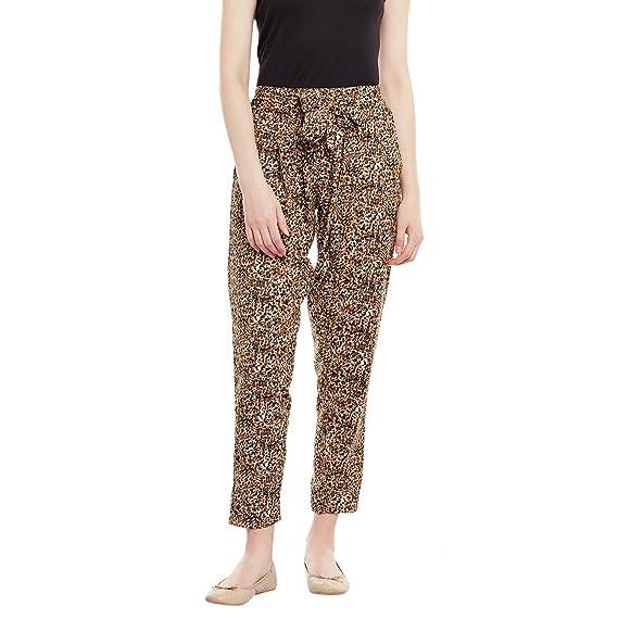 bc4bd2557d4d PANIT Women's Crepe Animal Print Cigarette Trouser Brown & Black ...
