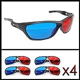4er SET 3D Brillen für TV oder PC Spiele (rot/blau), Anaglyphenbrille für Fernseher, sportliche 3D-Gläser mit Anaglyphen-Technologie - Marke Ganzoo