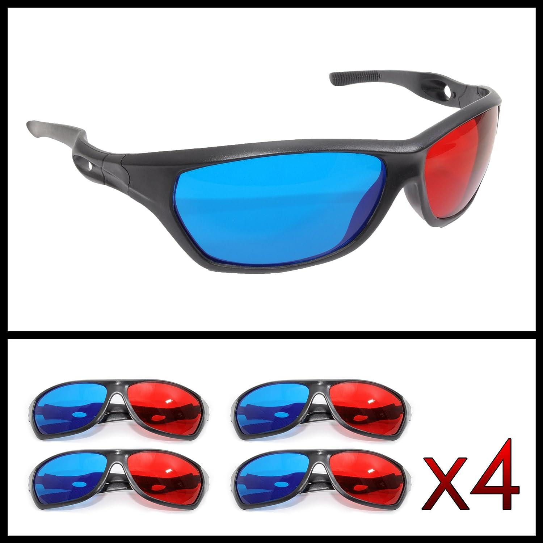 TALLA 4 unidades. Ganzoo - Gafas 3D para televisión y juegos de ordenador (rojo y azul, 4 unidades)