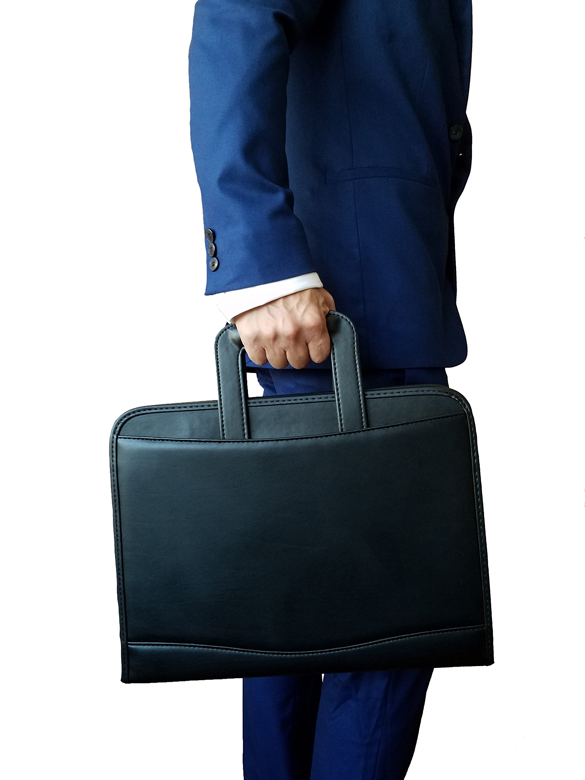 ImpecGear Executive Zippered Padfolio Portfolio Folder File Organizer w/ Smart Handle, Briefcase Luggage Portfolio (FREE RETURN) (Black)