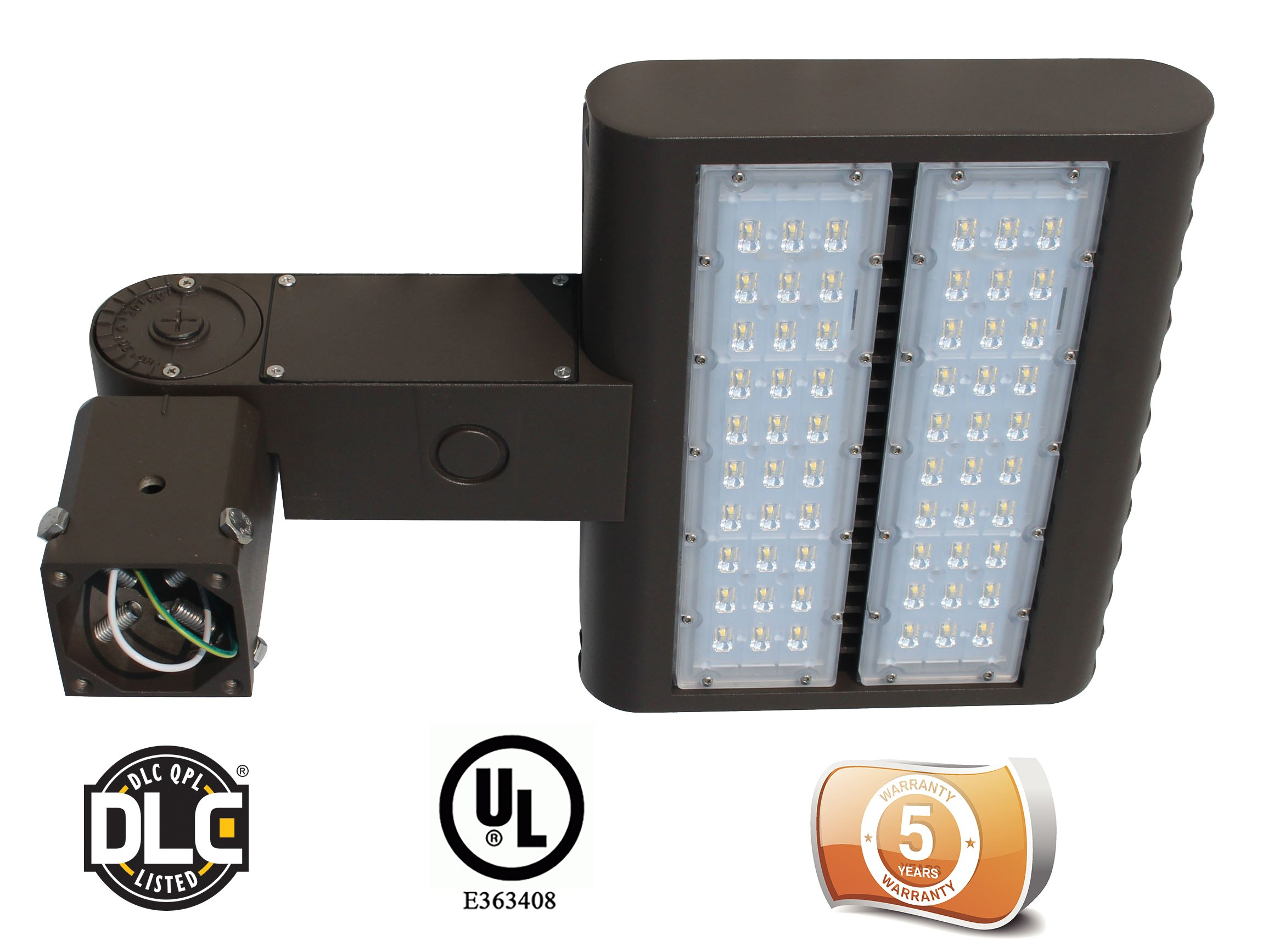 DLC Listed LEDrock Electra Series 150 Watt LED Area Light, 4000K Neutral White, 120V-277V, Comparable to 400W MH, 15,131 Lumens, Slipfitter Mount Area Light, UL, Warranty Based in Denver, CO, USA by LEDrock