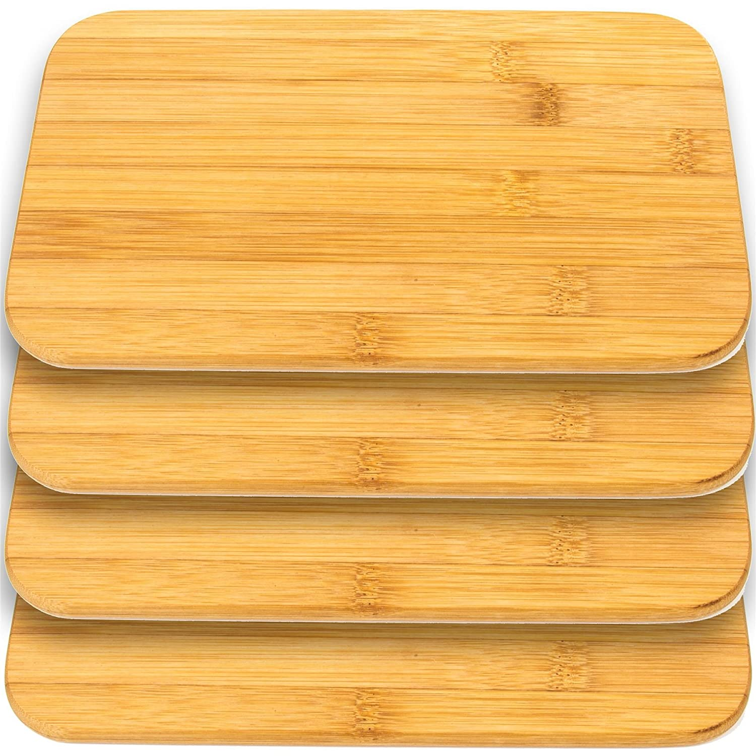 4x Real Bamboo Wooden Plates - Breakfast/Dinner Food Serving Platters/Cutting Boards White Hinge