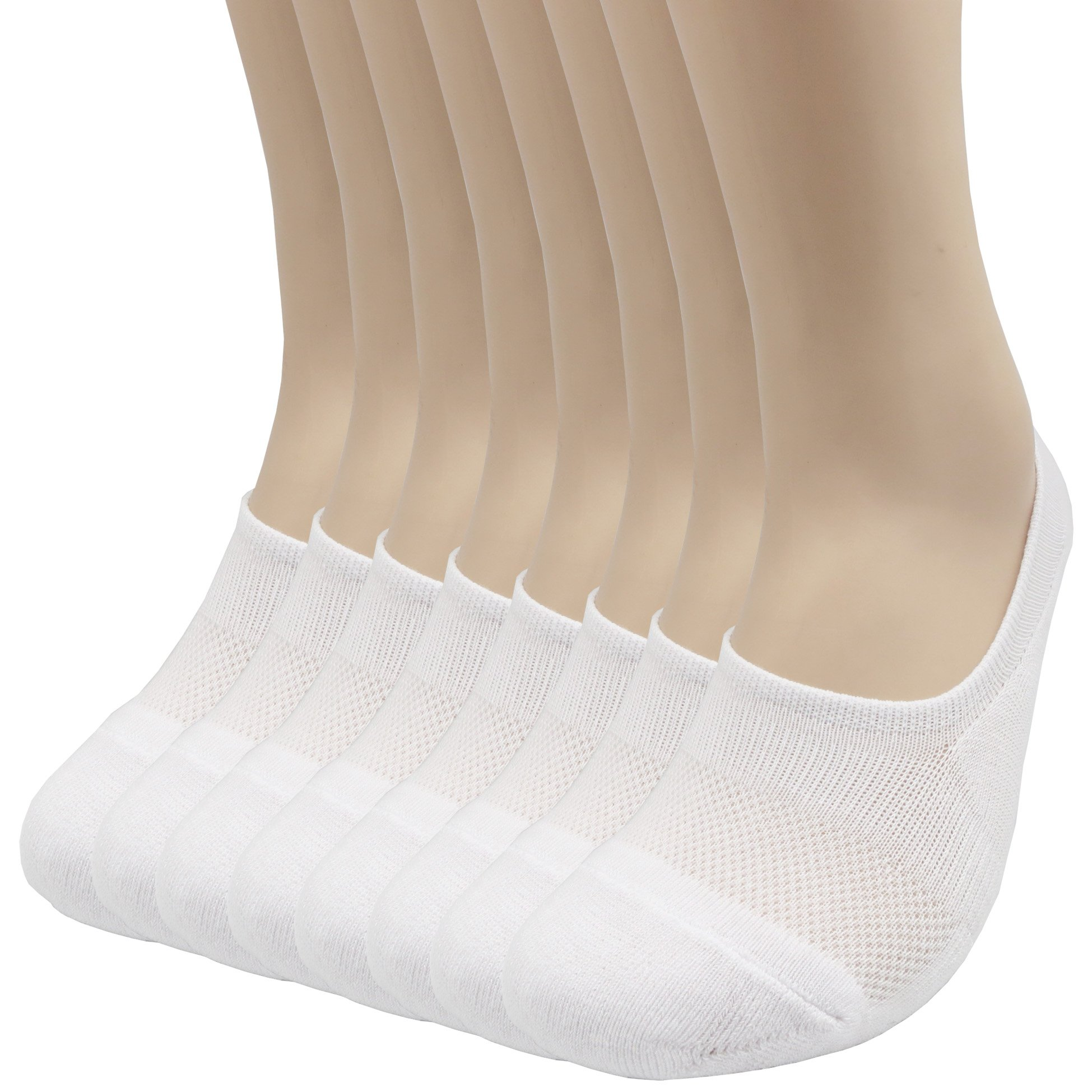 Pro Mountain Women's No Show Flat Cushion Athletic Cotton Footies Sneakers Sports Socks (S(US Women Shoes 5.5~7.5), White 8pairs Pack S-size)