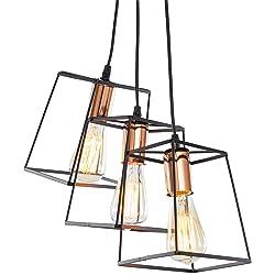 Light Society Port Hadlock 3-Light Caged Chandelier Pendant, Matte Black Shade with Copper Finish, Modern Industrial Lighting Fixture (LS-C185-BLK-CPR)