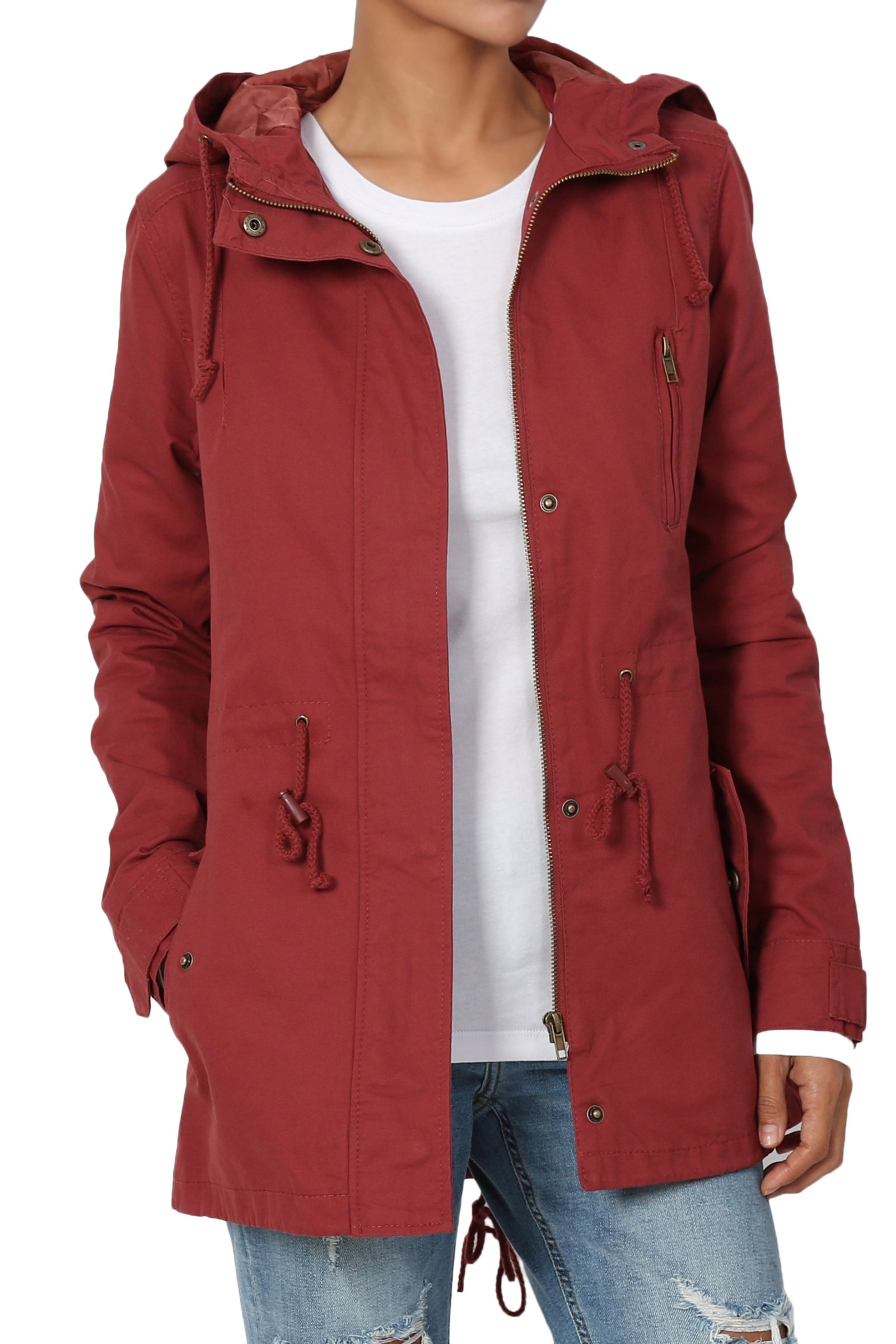 TheMogan Junior's Washed Twill Hooded Utility Anorak Jacket Marsala 2XL