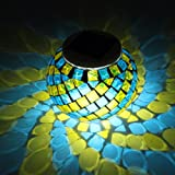 Glass Solar Table Light, GLISTENY Mosaic Glass Ball Garden Lights Color  Changing Create Romance Wireless