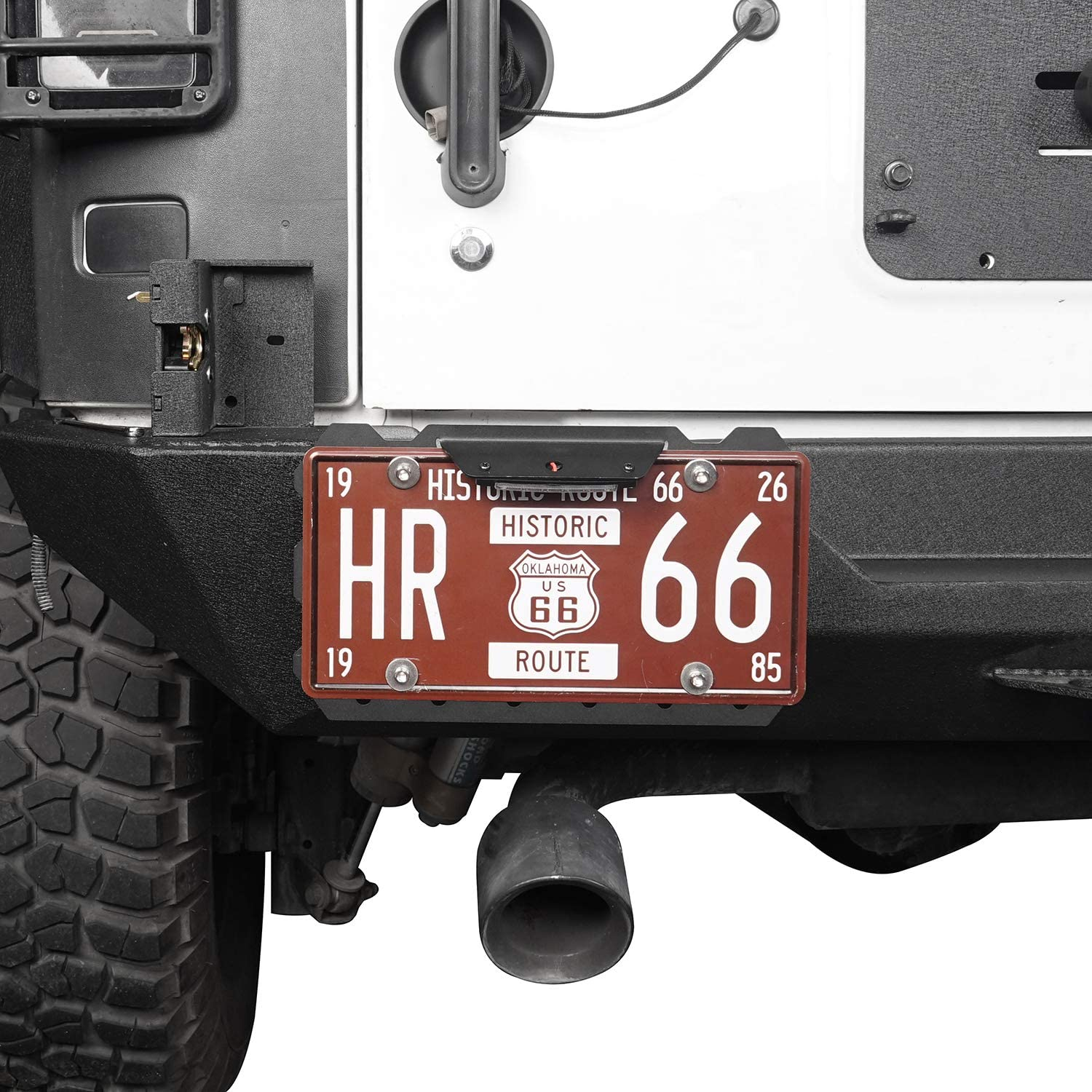 Kutang Modified License Plate Relocation Bracket Holder w//White LED Light for 1955-2020 Jeep Wrangler CJ YJ TJ JK JL