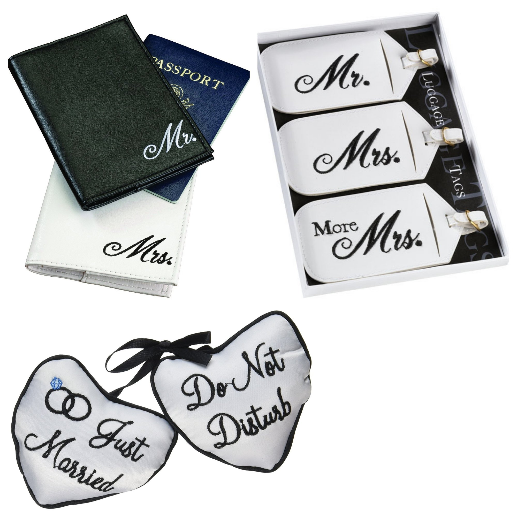 Bachelorette/Bridal Shower/Wedding Gift Of Passport Covers, Bridal Luggage Tags and Door Hanger