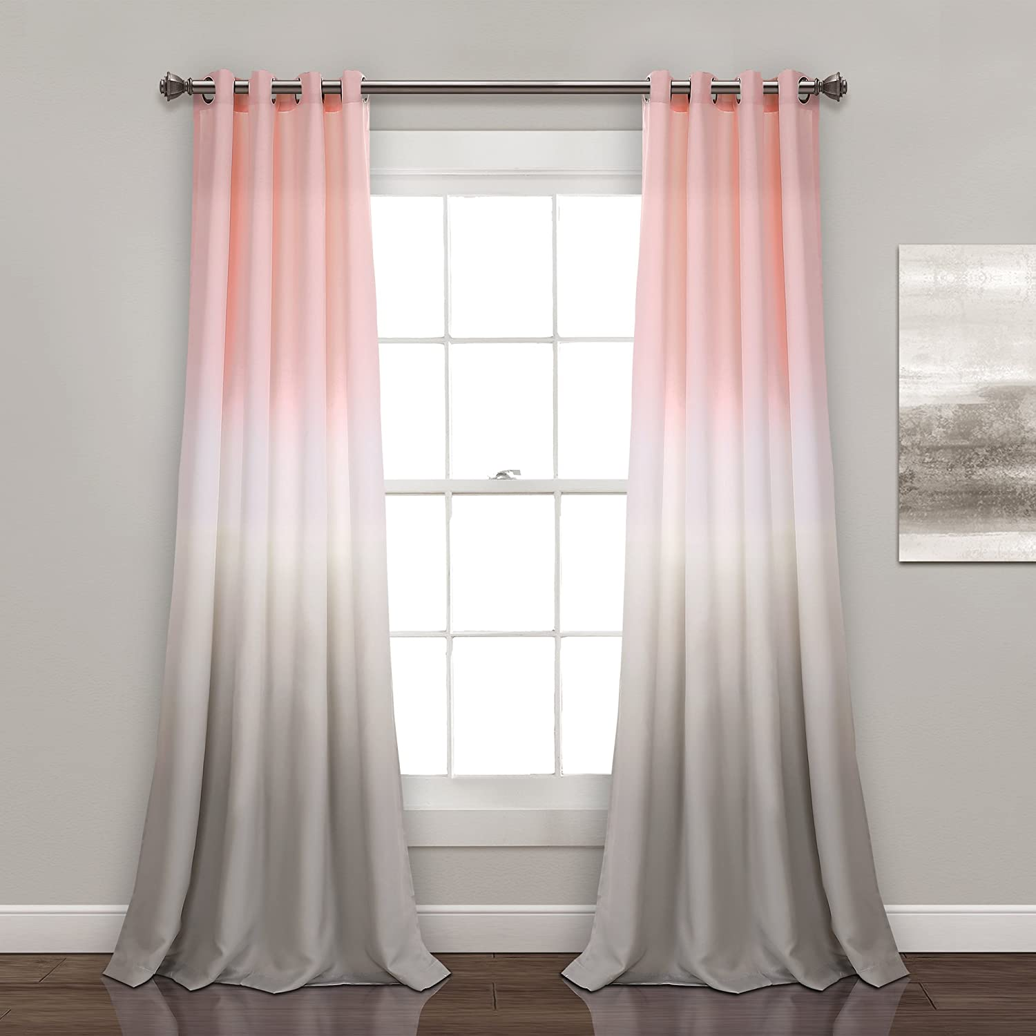 "Lush Decor Umber Fiesta Curtains Room Darkening Window Panel Set for Living, Dining, Bedroom (Pair) 84"" x 52"" Blush and Gray"