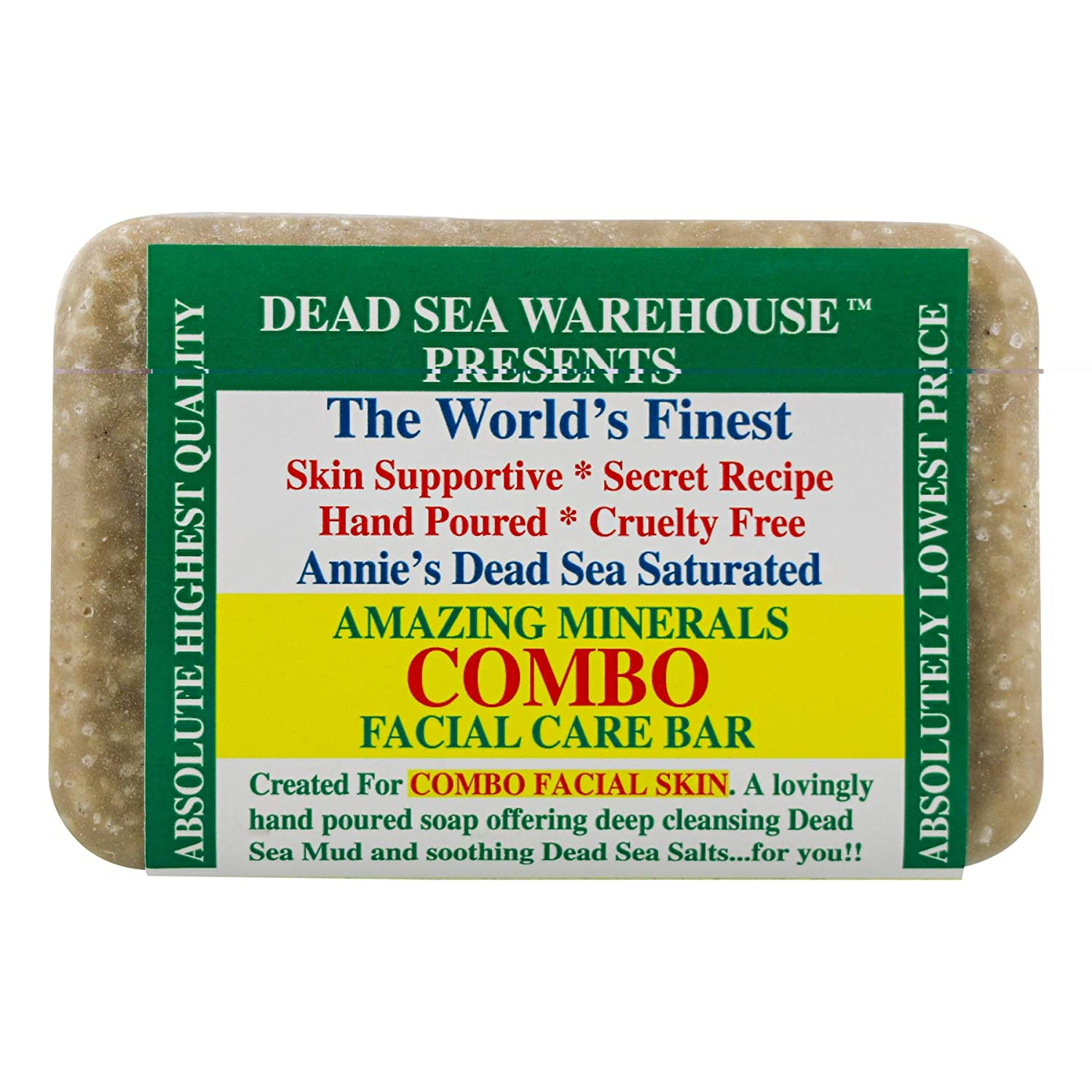 Dead Sea Warehouse - Amazing Minerals Combination Facial Skin Soap Bar, Hand Crafted with Deep Cleansing Dead Sea Mud and Soothing Dead Sea Salts (5.2 Ounces) : Beauty