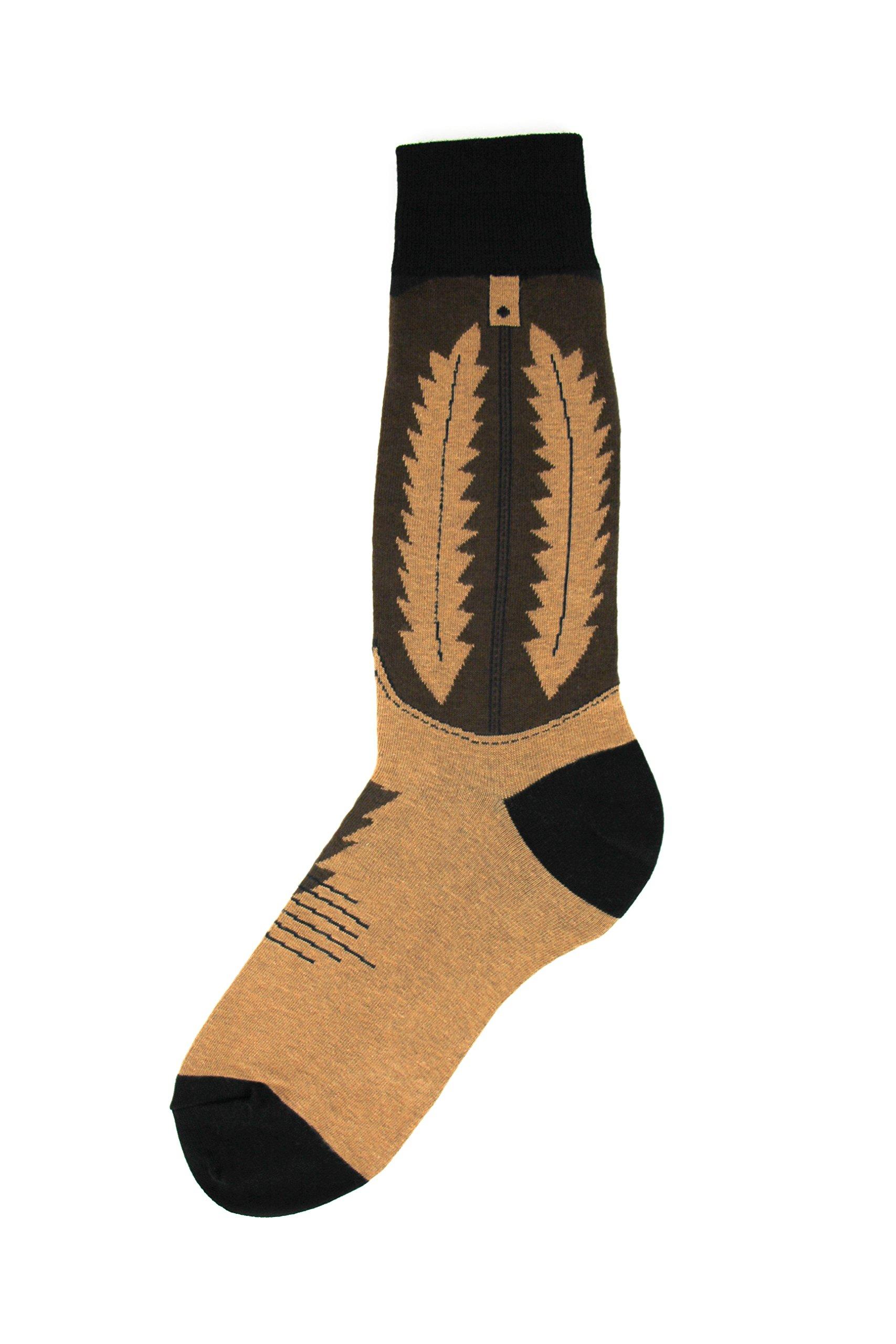Foot Traffic - Men's Wacky Novelty Socks, Cowboy Boot (Shoe Sizes 7-12)