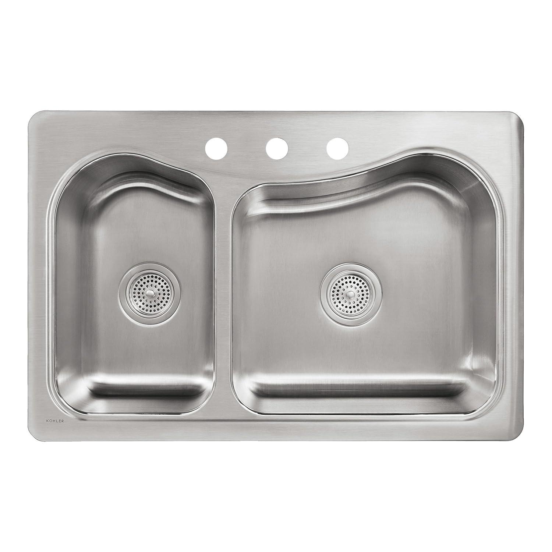 kohler k 3361 3 na staccato large medium self rimming kitchen sink