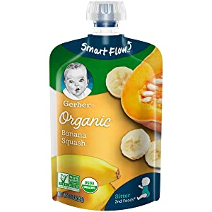 Gerber Organic 2nd Foods Baby Food, Bananas & Squash, 3.5 Ounce Pouch, 12 count
