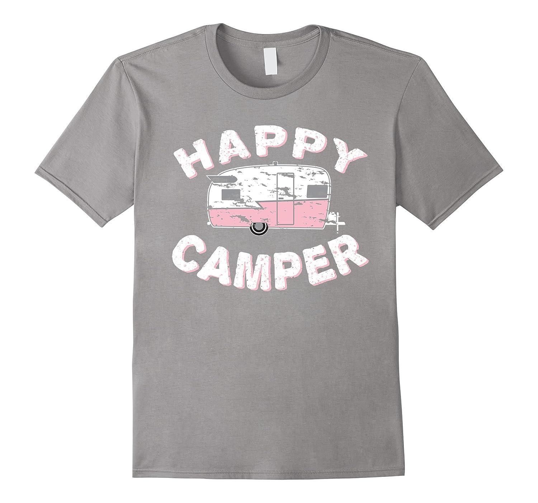 Happy Camper Vintage Trailer T-shirt (Distressed)-Art